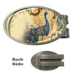 Victorian Swirls Peacock Floral Paris Decor Money Clip (Oval)