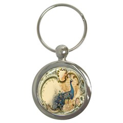 Victorian Swirls Peacock Floral Paris Decor Key Chain (Round)