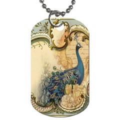 Victorian Swirls Peacock Floral Paris Decor Dog Tag (Two-sided)