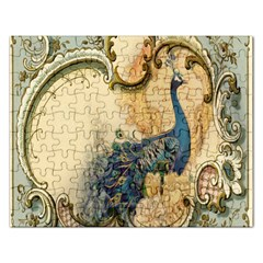 Victorian Swirls Peacock Floral Paris Decor Jigsaw Puzzle (rectangle)