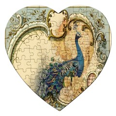Victorian Swirls Peacock Floral Paris Decor Jigsaw Puzzle (heart)