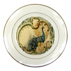 Victorian Swirls Peacock Floral Paris Decor Porcelain Display Plate