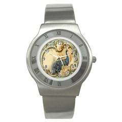 Victorian Swirls Peacock Floral Paris Decor Stainless Steel Watch (Unisex)