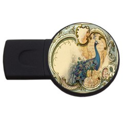 Victorian Swirls Peacock Floral Paris Decor 4GB USB Flash Drive (Round)