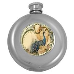 Victorian Swirls Peacock Floral Paris Decor Hip Flask (Round)
