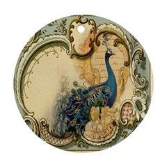Victorian Swirls Peacock Floral Paris Decor Round Ornament (Two Sides)