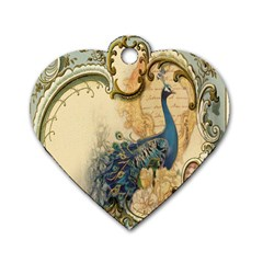 Victorian Swirls Peacock Floral Paris Decor Dog Tag Heart (Two Sided)