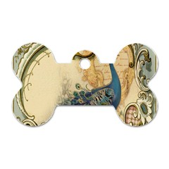 Victorian Swirls Peacock Floral Paris Decor Dog Tag Bone (One Sided)
