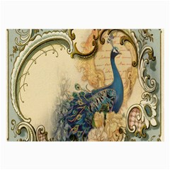 Victorian Swirls Peacock Floral Paris Decor Glasses Cloth (large, Two Sided)