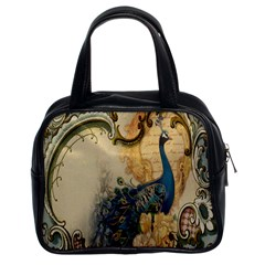 Victorian Swirls Peacock Floral Paris Decor Classic Handbag (Two Sides)