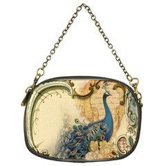 Victorian Swirls Peacock Floral Paris Decor Chain Purse (One Side)
