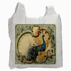 Victorian Swirls Peacock Floral Paris Decor Recycle Bag (Two Sides)