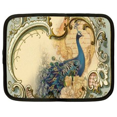 Victorian Swirls Peacock Floral Paris Decor Netbook Case (XXL)