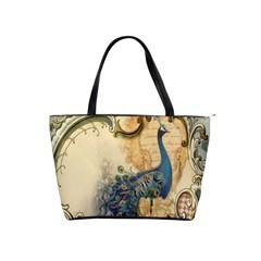 Victorian Swirls Peacock Floral Paris Decor Large Shoulder Bag