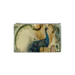Victorian Swirls Peacock Floral Paris Decor Cosmetic Bag (Small)