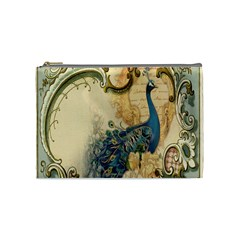 Victorian Swirls Peacock Floral Paris Decor Cosmetic Bag (medium)