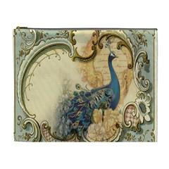 Victorian Swirls Peacock Floral Paris Decor Cosmetic Bag (XL)