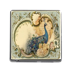 Victorian Swirls Peacock Floral Paris Decor Memory Card Reader with Storage (Square)