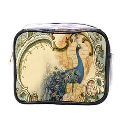 Victorian Swirls Peacock Floral Paris Decor Mini Travel Toiletry Bag (one Side)