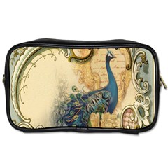 Victorian Swirls Peacock Floral Paris Decor Travel Toiletry Bag (One Side)