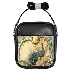 Victorian Swirls Peacock Floral Paris Decor Girl s Sling Bag