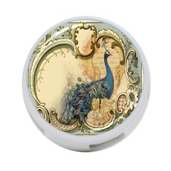 Victorian Swirls Peacock Floral Paris Decor 4-Port USB Hub (Two Sides)