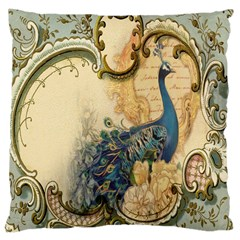Victorian Swirls Peacock Floral Paris Decor Large Cushion Case (Two Sided)