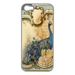 Victorian Swirls Peacock Floral Paris Decor Apple Iphone 5 Case (silver)