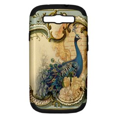 Victorian Swirls Peacock Floral Paris Decor Samsung Galaxy S Iii Hardshell Case (pc+silicone)