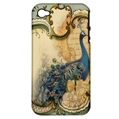 Victorian Swirls Peacock Floral Paris Decor Apple iPhone 4/4S Hardshell Case (PC+Silicone)