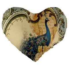 Victorian Swirls Peacock Floral Paris Decor 19  Premium Heart Shape Cushion