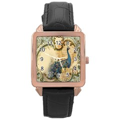 Victorian Swirls Peacock Floral Paris Decor Rose Gold Leather Watch