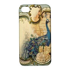 Victorian Swirls Peacock Floral Paris Decor Apple iPhone 4/4S Hardshell Case with Stand