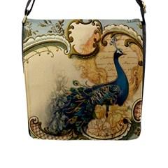 Victorian Swirls Peacock Floral Paris Decor Flap Closure Messenger Bag (large)