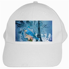 Girly Blue Bird Vintage Damask Floral Paris Eiffel Tower White Baseball Cap
