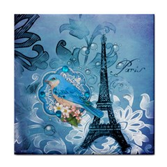 Girly Blue Bird Vintage Damask Floral Paris Eiffel Tower Ceramic Tile