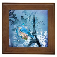 Girly Blue Bird Vintage Damask Floral Paris Eiffel Tower Framed Ceramic Tile