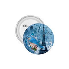 Girly Blue Bird Vintage Damask Floral Paris Eiffel Tower 1.75  Button