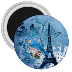 Girly Blue Bird Vintage Damask Floral Paris Eiffel Tower 3  Button Magnet