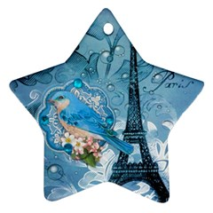 Girly Blue Bird Vintage Damask Floral Paris Eiffel Tower Star Ornament