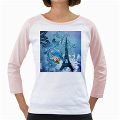 Girly Blue Bird Vintage Damask Floral Paris Eiffel Tower Womens  Long Sleeve Raglan T Shirt (white)
