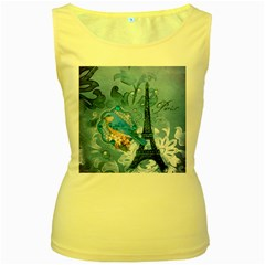 Girly Blue Bird Vintage Damask Floral Paris Eiffel Tower Womens  Tank Top (Yellow)