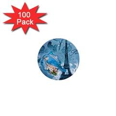 Girly Blue Bird Vintage Damask Floral Paris Eiffel Tower 1  Mini Button (100 Pack)