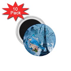 Girly Blue Bird Vintage Damask Floral Paris Eiffel Tower 1.75  Button Magnet (10 pack)