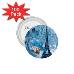 Girly Blue Bird Vintage Damask Floral Paris Eiffel Tower 1 75  Button (100 Pack)