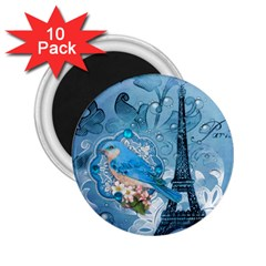 Girly Blue Bird Vintage Damask Floral Paris Eiffel Tower 2.25  Button Magnet (10 pack)