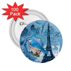 Girly Blue Bird Vintage Damask Floral Paris Eiffel Tower 2.25  Button (100 pack)