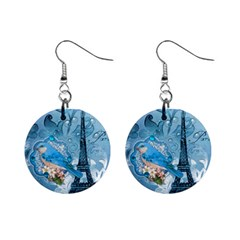 Girly Blue Bird Vintage Damask Floral Paris Eiffel Tower Mini Button Earrings