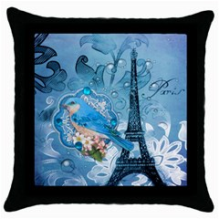 Girly Blue Bird Vintage Damask Floral Paris Eiffel Tower Black Throw Pillow Case