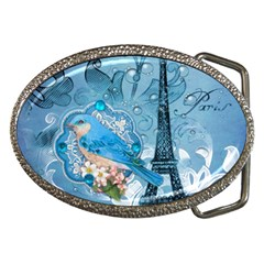 Girly Blue Bird Vintage Damask Floral Paris Eiffel Tower Belt Buckle (Oval)